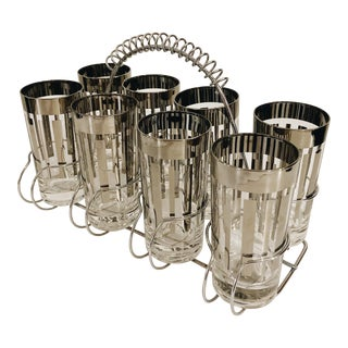 Vintage Patterned Mirrored Glasses in Carrier - Set of 9 For Sale