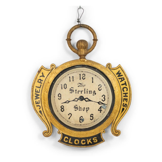 Metal American Country Tole Gold Clock Sign For Sale - Image 7 of 7