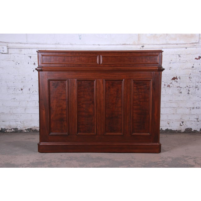 Antique Victorian Carved Flame Mahogany Chicago Railroad Desk, Circa 1850 For Sale - Image 11 of 13