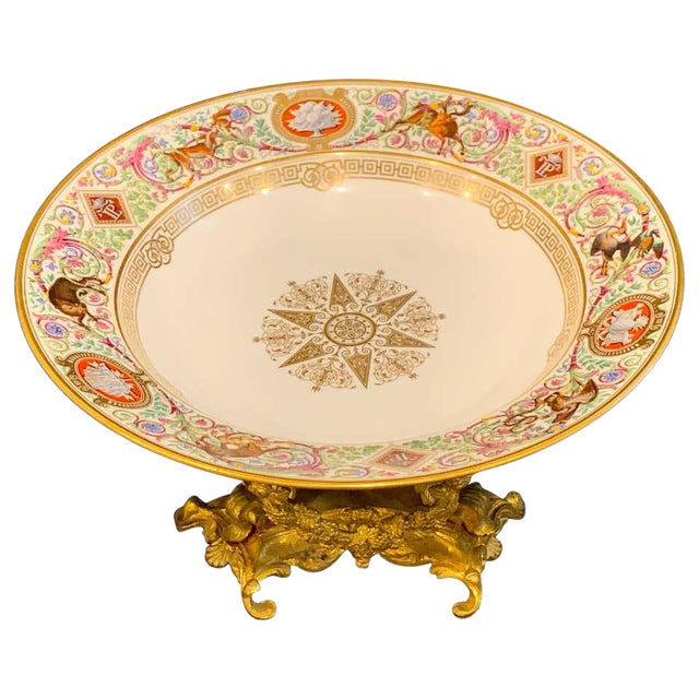 Sevres Porcelain Ormolu Tazza, From the Hunting Service of King Louis Philippe For Sale