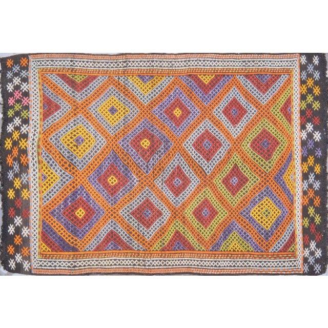 "1950s Vintage Turkish Anatolian Hand Made Organic Wool Tribal Kilim,5'2""x7'9"" For Sale - Image 5 of 5"