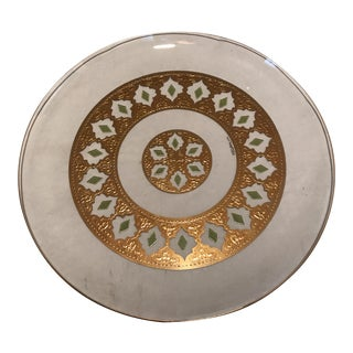Mid-Century Round Green & Gold Glass Platter For Sale