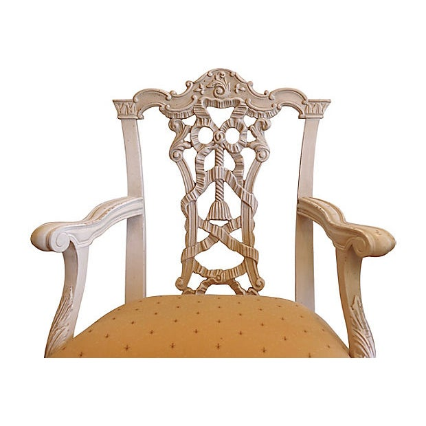 Pair of 1960s Italian hand-carved chairs. Seats are newly reupholstered in silk-blend fleur-de-lis pattern fabric. Seats,...