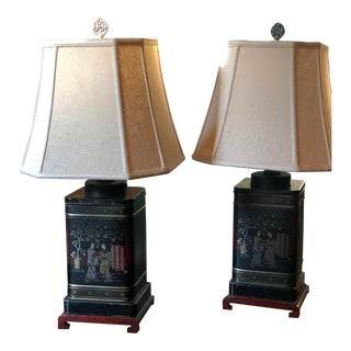 Mid 20th Century Chinoiserie Tea Caddy Lamps - Set of 2 For Sale