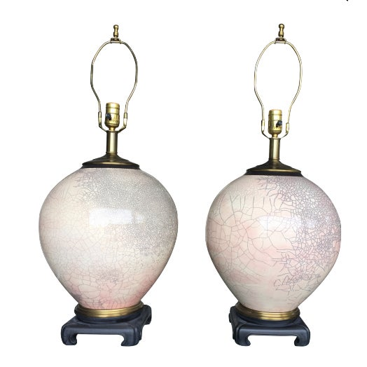 Asian Style Crackle Glaze Table Lamps - A Pair - Image 1 of 3