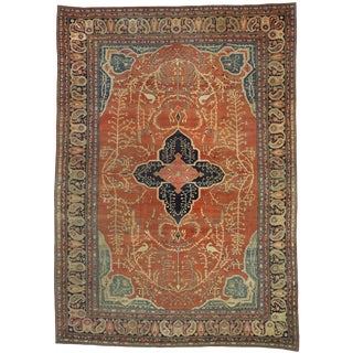 Antique Persian Farahan Rug With Arts & Crafts - 08'09 X 12'03 For Sale