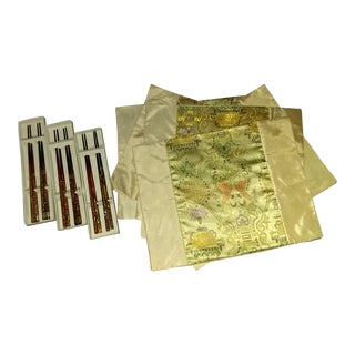 Asian Pattern Fabric Placemats with Six & Six Pearlized and Inlaid Chopsticks - 3 Settings For Sale