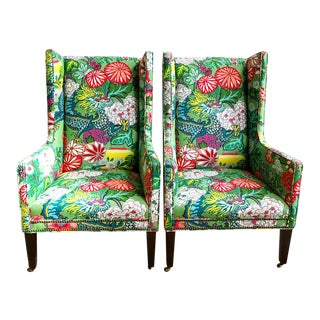 Pair Schumacher Chiang Mai Jade Green Covered Lee Industries Wing Chairs For Sale