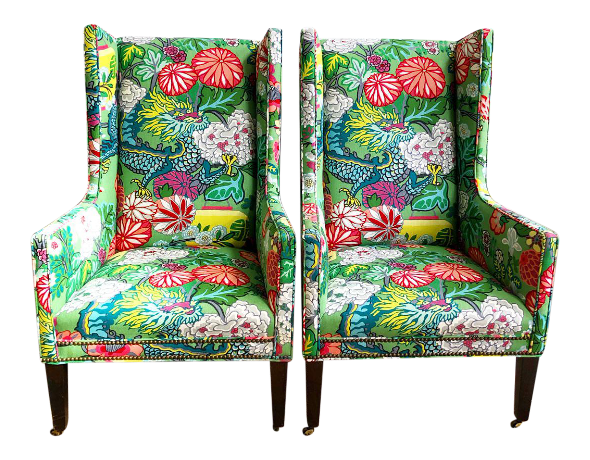 Pair Schumacher Chiang Mai Jade Green Covered Lee Industries Wing Chairs