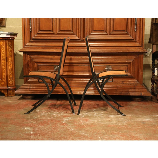 Mid 20th Century Pair of Mid-20th Century French Iron and Leather Folding Chairs For Sale - Image 5 of 9