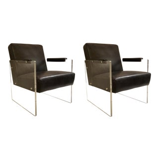 Regina Andrew Charcoal Black Leather and Acrylic Contemporary Lounge Chairs Pair For Sale
