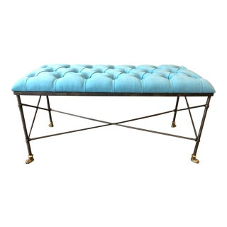Wrought Iron and Brass Bench Style of Maison Jansen For Sale