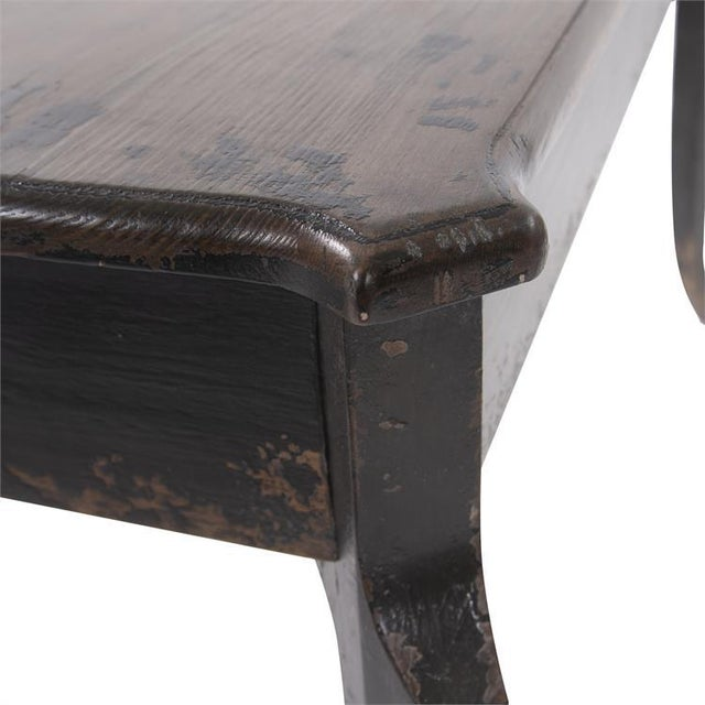 Not Yet Made - Made To Order Kenneth Ludwig Chicago Distressed Black Farm House Console Table For Sale - Image 5 of 8