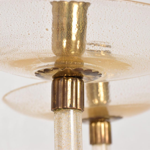 Metal Mid Century Sculptural Modern Italian Murano Chandelier Five Arms For Sale - Image 7 of 11