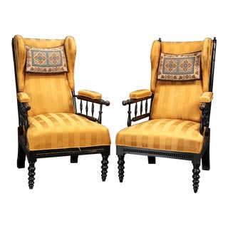 Aesthetic Wingback Chairs- A Pair For Sale