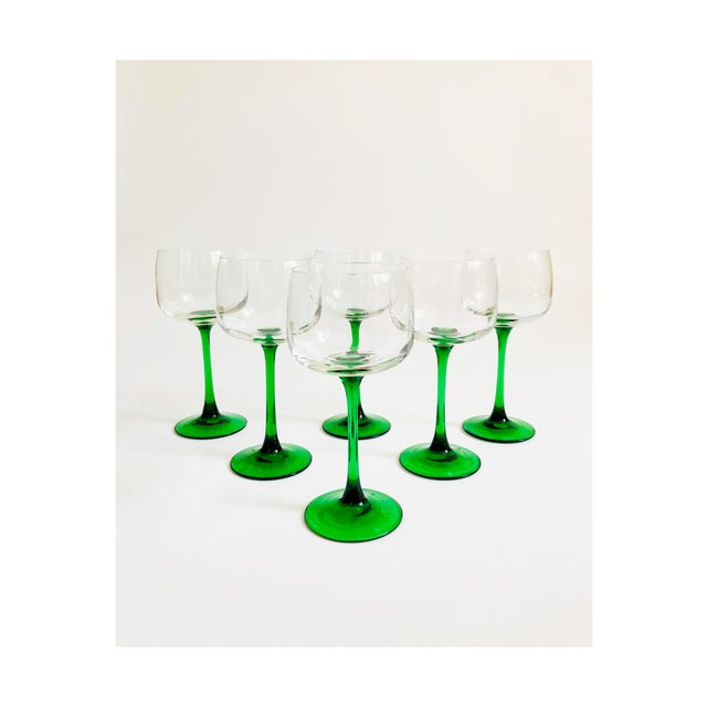 Vintage Green Stemmed Wine Glasses - Set of 6 For Sale In San Francisco - Image 6 of 6