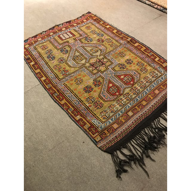 1900s TurkishVintag Colorful Tribal Wool Kilim Rug For Sale - Image 4 of 13