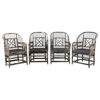 Brighton Bamboo Rattan Chinese Chippendale Lacquered Chairs For Sale