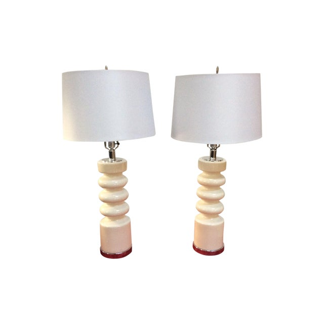 1970s Modern Chrome & Ceramic Table Lamps - Image 1 of 8