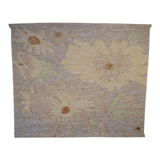 1983 Don Freedman Flower Jute Hand Woven Wall Tapestry For Sale
