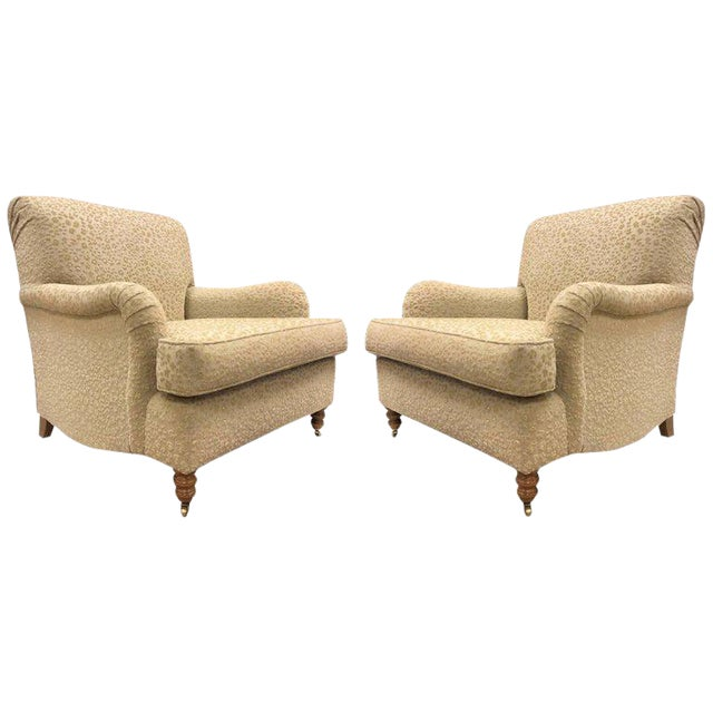 Pair of English Oversized Upholstered Lounge Chairs For Sale