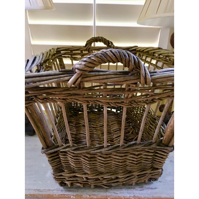 French Country Vintage French Wicker Boulangerie Bakery Bread Basket For Sale - Image 3 of 9