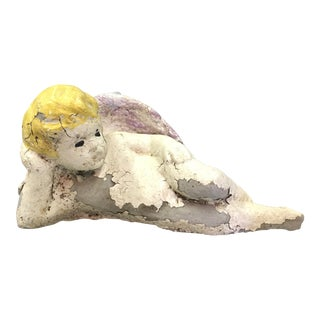 Painted Cement Garden Angel For Sale