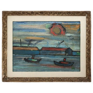 Impressionist Harbor Scene Oil Painting on Canvas C. 1956 For Sale