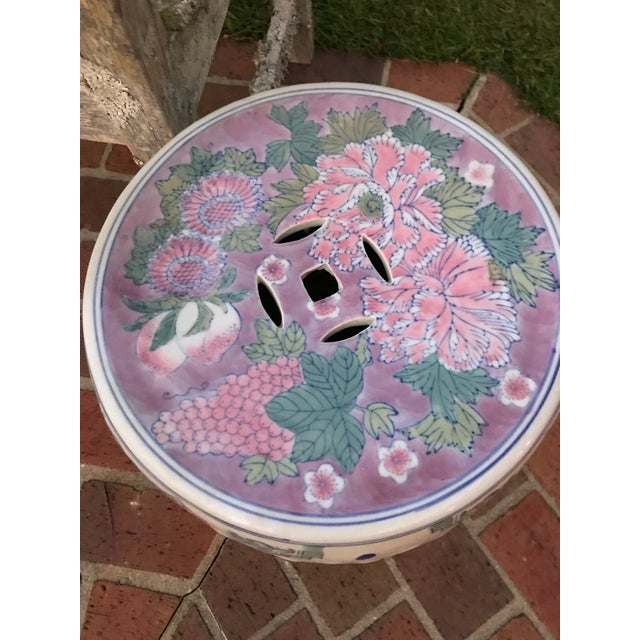 Mid 20th Century Vintage Floral Garden Stool For Sale - Image 5 of 6
