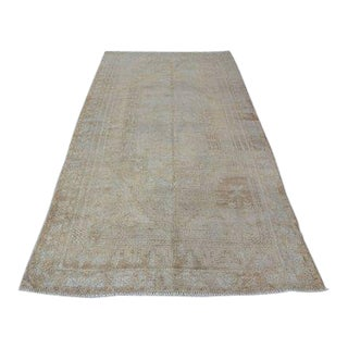 1960s Vintage Turkish Oushak Rug - 4′6″ × 9′7″ For Sale