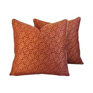 Custom Italian Mariano Fortuny Simboli Feather/Down Pillows - Pair