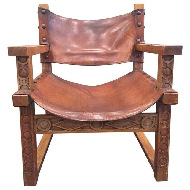Vintage Spanish Baroque Leather Armchair For Sale - Image 9 of 9