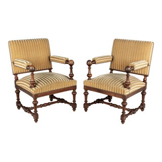 Louis XIV Style French Walnut Fauteuils - a Pair For Sale