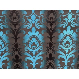 Art Deco Brown & Teal Paisley Patterned Wallcovering For Sale