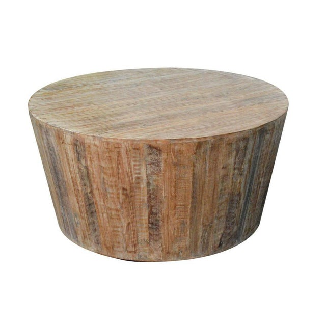 Distressed Round Coffee Tables: Distressed White Reclaimed Wood Round Coffee Table