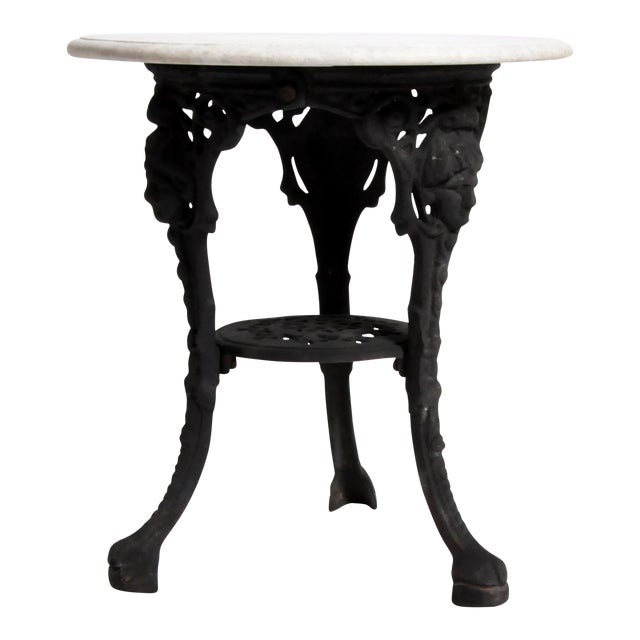 Round Table with Iron Legs and Marble Top - Image 1 of 11