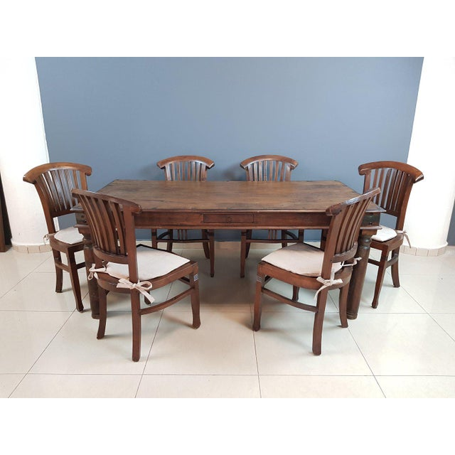 Vintage Wood Colonial Dining Set Table and 6 Chairs For Sale - Image 13 of 13