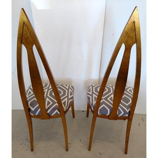 1960s 1960's Cathedral Arch-Backed Side Chairs, Gold-Leafed/ Shell Inlaid, a Pair For Sale - Image 5 of 12