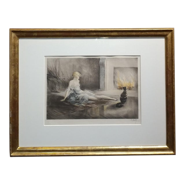 E. Naudy 1920s Art Nouveau Woman W/Cat by Fireplace Lithograph For Sale