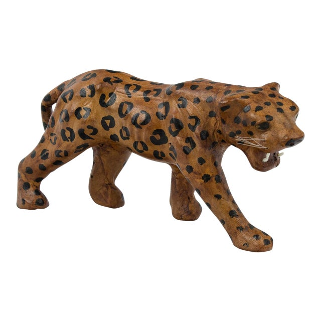 Vintage Hand Painted Leather Leopard Figure For Sale