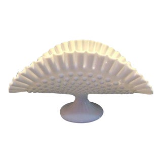 1950s Fenton Ribbed Footed Ruffled Edge Hobnail Fruit Stand For Sale
