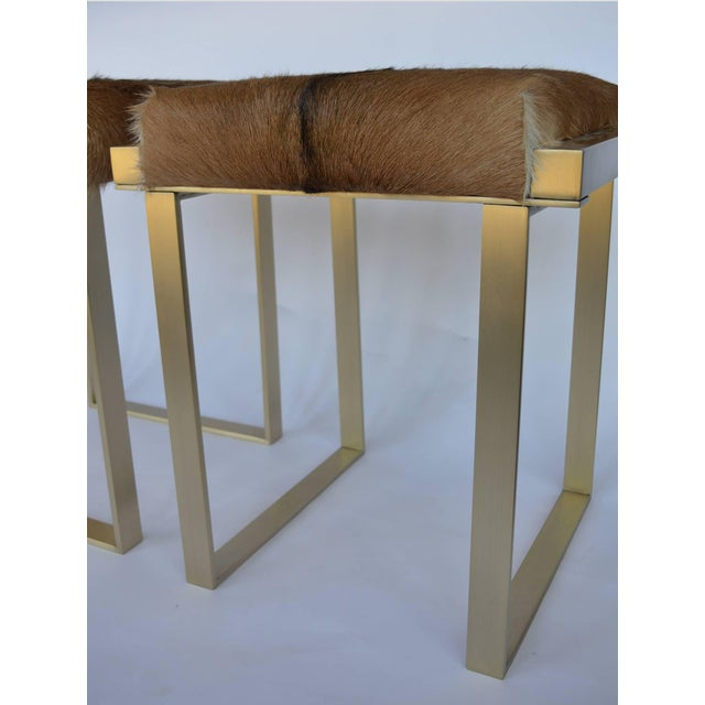 Rancho Monterey 1980s Vintage Brushed Brass Stools- a Pair For Sale - Image 3 of 7