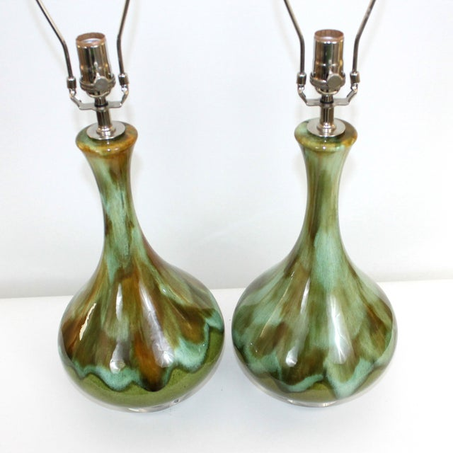 Mid-Century Restored Green Pottery Lamps - Pair - Image 2 of 9