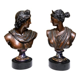 Neoclassical Busts of God Apollo and Goddess Artemis - a Pair For Sale