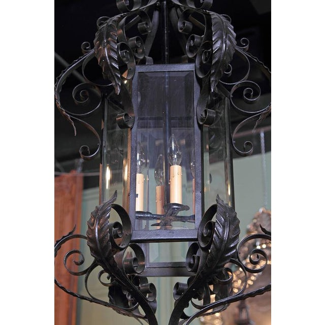 Early 20th Century French Black Four-Light Iron Lantern With Beveled Glass For Sale - Image 10 of 10