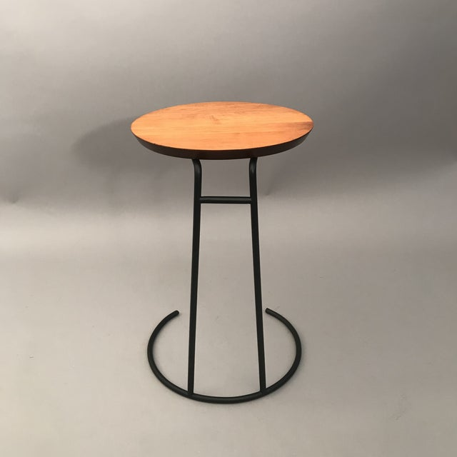 Original Jens Risom Occasional table (T-710) with black enameled wrought iron base.