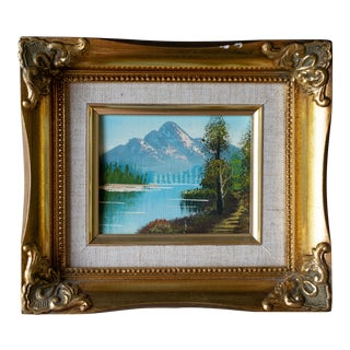 Vintage Landscape Mountain Oil Painting Framed For Sale