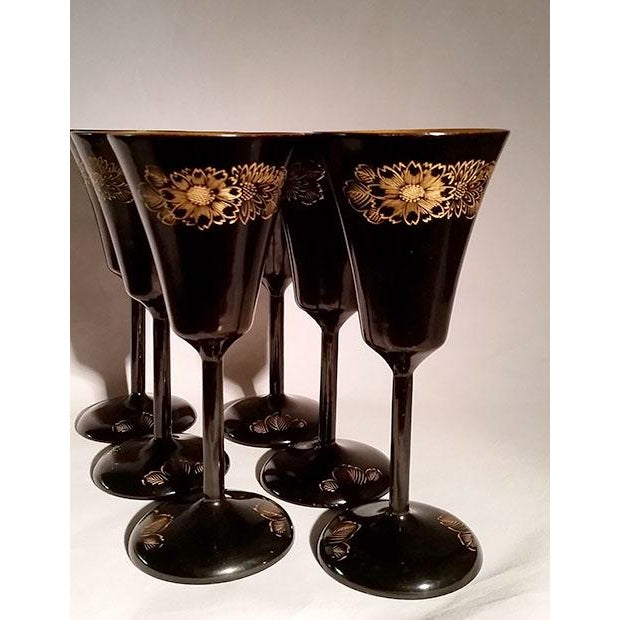 Asian Japanese Black & Gold Lacquerware Wine Glasses For Sale - Image 3 of 5