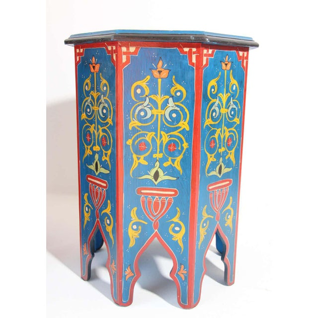 Hand Painted Blue Moroccan Pedestal Tables - a Pair For Sale - Image 11 of 13