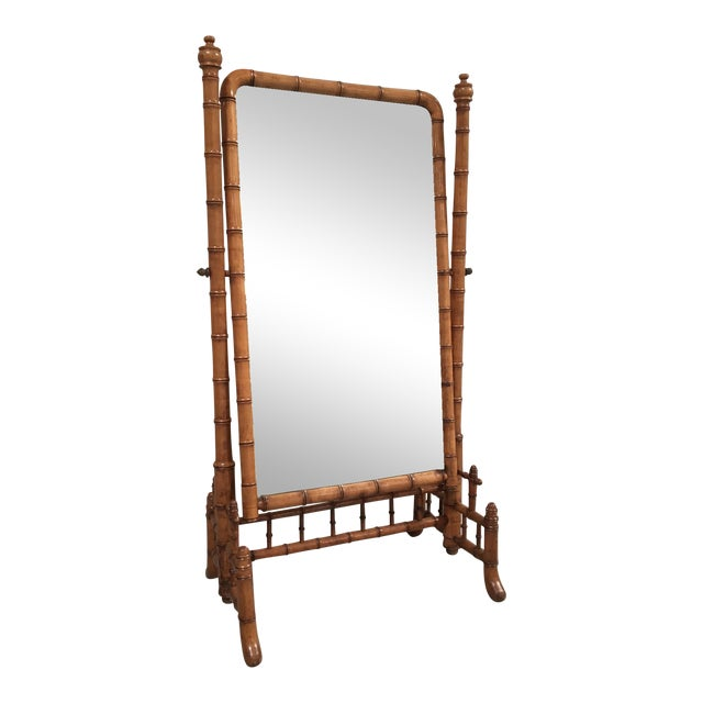 """English Antique Faux Bamboo Cheval """"Psyche"""" Mirror - Image 1 of 7"""